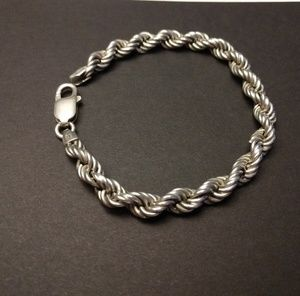 """ITALY 925 Sterling silver Chain Bracelet 7"""""""